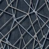 Vliesové tapety na stenu IMPOL Galactik 3D hrany modro-strieborné na čiernom podklade
