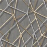 Vliesové tapety na stenu IMPOL Galactik 3D hrany béžovo-strieborné na hnedom podklade MEGA ZĽAVA