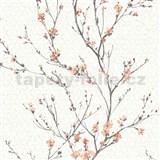 Vliesové tapety na stenu IMPOL Jardin Secret vetvičky s oranžovými kvetmi na krémovom podklade
