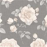 Papierové tapety na stenu IMPOL krémové ruže na sivom podklade