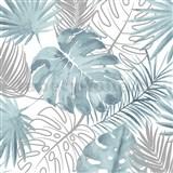 Vliesové tapety na stenu IMPOL Escapade listy palmy a monstery aqua-strieborné