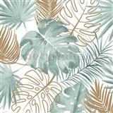 Vliesové tapety na stenu IMPOL Escapade listy palmy a monstery zeleno-zlaté