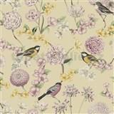 Vliesové tapety na stenu IMPOL Escapade florálny vzor s vtákmi na krémovom podklade