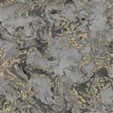 Vliesové tapety na stenu IMPOL Reflets mramor sivo-čierny so zlatými odleskami