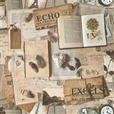 Vliesové tapety na stenu Replik retro knihy a noviny hnedé