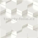 Vliesové tapety na stenu IMPOL Galactik 3D hexagony kovovo biele
