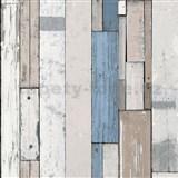 Vliesové tapety na stenu Virtual Vision drevené laty modré
