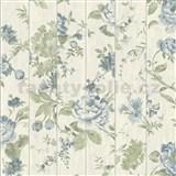 Vliesové tapety na stenu Virtual Vision drevené laty s kvetmi modré