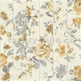 Vliesové tapety na stenu Virtual Vision drevené laty s kvetmi okrové - POSLEDNÉ KUSY