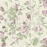 Vliesové tapety na stenu Virtual Vision drevené laty s kvetmi fialové