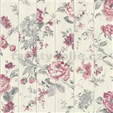 Vliesové tapety na stenu Virtual Vision drevené laty s kvetmi ružové