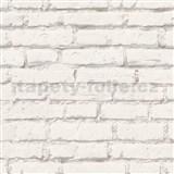 Vliesové tapety IMPOL Wood and Stone 2 tehly biele so sivou škárou