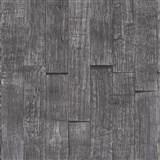 Vliesové tapety IMPOL Wood and Stone 2 3D drevený obklad sivo-čierny