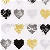 Tapety na stenu Young Spirit - srdiečka čierno-žlté