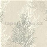 Vinylové tapety na stenu Adelaide stromčeky sivo-biele na krémovom podklade