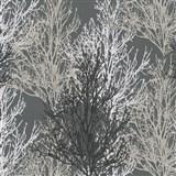 Vinylové tapety na stenu Adelaide stromčeky sivé, čierne, biele na sivom podklade