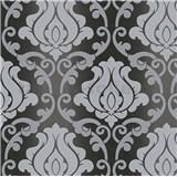 Vinylové tapety na stenu Adelaide ornamenty sivé na čiernom podklade -POSLEDNÉ KUSY