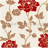 Vinylové tapety na stenu Adelaide kvetiny červené s hnedými lístkami na bielom podklade