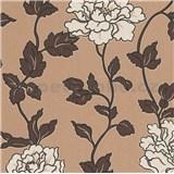 Vinylové tapety na stenu Adelaide kvetiny krémové s hnedými lístkami na hnedom podklade