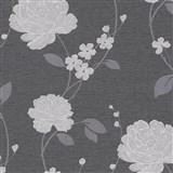 Vinylové tapety na stenu Adelaide kvety strieborné na čiernom podklade