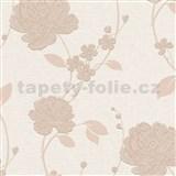 Vinylové tapety na stenu Adelaide kvety zlaté na krémovom podklade