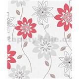 Vliesové tapety na stenu Allure kvety červené a sivé