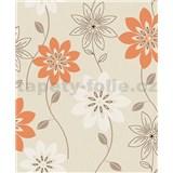 Vliesové tapety na stenu Allure kvety oranžové