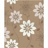 Vliesové tapety na stenu Allure kvety svetlo hnedé na tmavo hnedom podklade