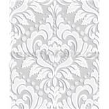 Vliesové tapety na stenu Allure zámocký vzor biely na sivom podklade