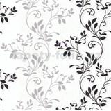 Vliesové tapety na stenu Allure rastlinný vzor sivo-čierny sa leskom