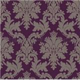Papierové tapety na stenu Options zámocký ornament strieborný na fialovom podklade