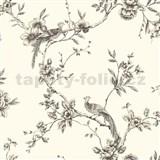 Papierové tapety na stenu Options kvety s pávom krémový podklad