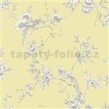 Papierové tapety na stenu Options kvety s pávom žltý podklad