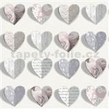 Papierové tapety na stenu Options 3D srdce ružové