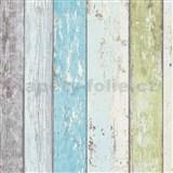Vliesové tapety na stenu Wood'n Stone drevené dosky modro-zelené