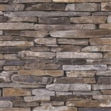 Vliesové tapety na stenu kameň bridlice sivo-hnedý