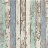 Vliesové tapety na stenu Wood'n Stone drevené laty zelené, modré, biele