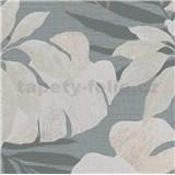 Vliesové tapety na stenu Avalon listy s kvetmi hnedo-modré na modrom podklade