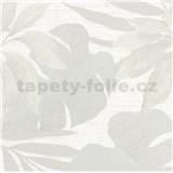 Vliesové tapety na stenu Avalon listy s kvetmi sivé na svetlo sivom podklade