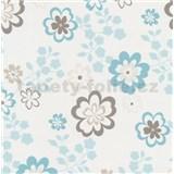 Papierové tapety na stenu Be You - kvety modro-hnedé