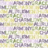 Papierové tapety na stenu Be You - characteristics žlto-fialové