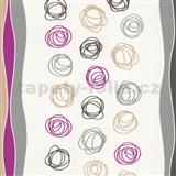 Papierové tapety na stenu Be You - abstraktné kruhy ružovo-šedé
