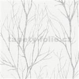 Vliesové tapety na stenu Blooming florálny vzor strieborný na bielom podklade