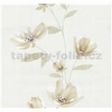 Vliesové tapety na stenu Blues kvety svetlo hnedé