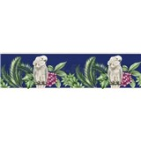 Papierová bordúra papagáje na tmavo modrom podklade 5 m x 13,5 cm