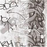 Papierové tapety na stenu Boys & Girls graffiti čiernobiele