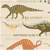 Papierové tapety na stenu Boys & Girls dinosauri farební na krémovom podklade