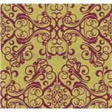 Vliesové tapety na stenu Caprice ornament červený na zlatom podklade