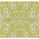 Vliesové tapety na stenu Caprice ornament biely na zlatom podklade