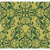 Vliesové tapety na stenu Caprice ornament zelený na zlatom podklade